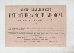 Publicité 1879 Grand Etablissement Hydrothérapique Médical Rue De Penthièvre Bains Russes   Paris - Advertising