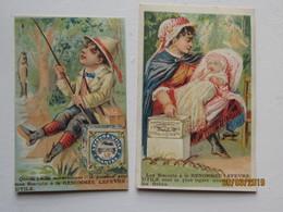LE/AJ - 2 Chromos Biscuits L.U. à Nantes - Jeune Homme Ayant Pêché Un Poisson Et Jeune Fille Avec Bébé  -1890-1900 - Lu