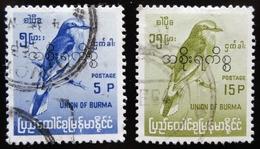 1965 Burma / Myanmar Yt S53, S54 . Indian Roller (Coracias Benghalensis) Oblitérés Used - Myanmar (Birmanie 1948-...)