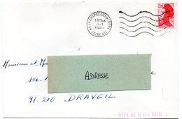 LOIRE ATLANTIQUE  - Dépt N° 44 = LA CHAPELLE Sur ERDRE 1989 =  FLAMME Codée à DROITE = SECAP Muette '5 Lignes Ondulées' - Postmark Collection (Covers)