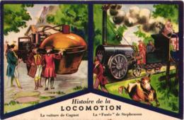 HISTOIRE DE LA LOCOMOTION ,VOITURE DE CUGNOT,FUSEE DE STEPHENSON A VOIR !!! EDITIONS PRODUITS DU LION NOIR REF 59242A - Cartes Postales