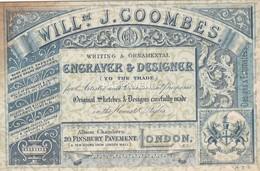 Trade Card  W.J. Coombes Engraver &  Designer 2 Sided LONDON  Etc35 - Trade Cards