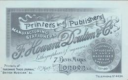 Trade Card Howard Doulton Calalogue & Magazine Publisher & Printer LONDON  Etc38 - Trade Cards
