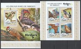 UU201 2017 DJIBOUTI FAUNA RARE BIRDS LES OISEAUX RARES BIRDPEX 8 2018 KB+BL MNH - Oiseaux