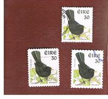 IRLANDA (IRELAND) - SG 1038  - 1998   BIRDS: TURDUS MERULA (3 DIFFERENT PERFORATIONS)  - USED - 1949-... Repubblica D'Irlanda