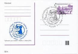 J0880 - Tschechoslowakei / Ganzsachen (1992) Plzen 1: Internationales Schachturnier Mephisto GRAND PRIX '92 (blau) - Scacchi