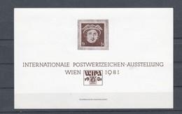 """Österreich 1978: Gedenkblatt """"WIPA 1981"""" (siehe Foto/Scan) - 1945-.... 2. Republik"""