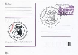 J0881 - Tschechoslowakei / Ganzsachen (1992) Plzen 1: Internationales Schachturnier Mephisto GRAND PRIX '92 (schwarz/rot - Scacchi