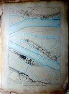 44 COUERON BASSE INDRE ET INDRET PLAN DU PORT ET DE LA VILLE  EN 1883  DE L'ATLAS DES PORTS DE FRANCE 49 X 66 Cm - Cartes Marines