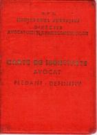 Romania, 1950's, Ministry Of Justice - Pleading Lawyer ID / Identity Card RPR - Historische Dokumente