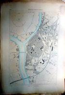 33 LIBOURNE  PLAN DU PORT ET DE LA VILLE  EN 1883 DE L'ATLAS DES PORTS DE FRANCE 49 X 66 Cm - Cartas Náuticas