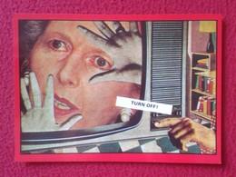 POSTAL POST CARD CARTE POSTALE MAGGIE MARGARET TATCHER POLITIC POLITICAL SATIRE SÁTIRA TURN OFF TV TELEVISION VER FOTOS - Sátiras