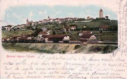 Romont FR Depuis L'Ouest, Chemin De Fer, Gare Et Train (7.9.1905) - FR Fribourg