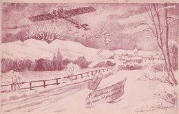 Ruegger, Suisse 1915, Meilleurs Voeux De Paix Et Prospérité, Avion Et Paysage, Litho (13) - Other Illustrators