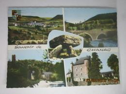 CP 48  Souvenir De CHANAC  Lozère - Vue Générale,le Vieux Pont, Dolmen De Laumède,château Episcopal ,... De Ressouches - Chanac