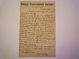 2019 - 701  PUTNEY  ESPERANTISTA SOCIETO  1909   XXX - Esperanto