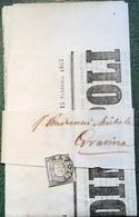 Sardegna 1c SPL Giornale GAZETTA DI NAPOLI 1863 (Regno D'Italia) / Italy Sardinia Newspaper Cover Lettera Naples Journal - Marcofilía