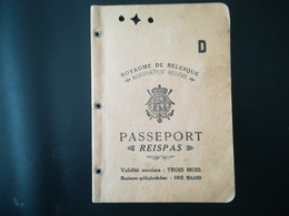 PASSEPORT REISPAS PASSAPORTE PASSPORT FEMME VENDEUSE TIMBRES FISCAUX BELGIQUE VIEUX PAPIERS - Documenti Storici