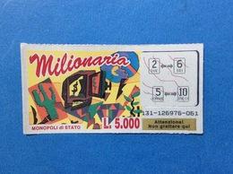 GRATTA E VINCI USATO L. 5000 MILIONARIA COLORE ROSSO - Biglietti Della Lotteria
