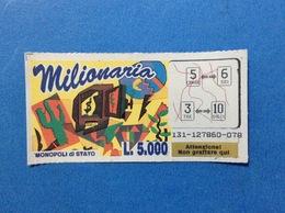 BIGLIETTO LOTTERIA GRATTA E VINCI USATO L. 5000 MILIONARIA COLORE BLU - Biglietti Della Lotteria