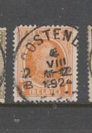 COB 190 Oblitération Centrale OOSTENDE - 1922-1927 Houyoux
