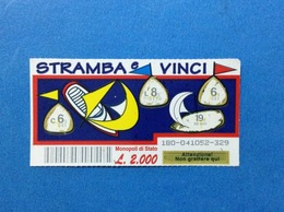 BIGLIETTO LOTTERIA GRATTA E VINCI USATO L. 2000 STRAMBA E VINCI - Biglietti Della Lotteria