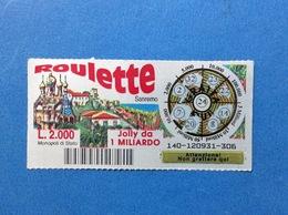 BIGLIETTO LOTTERIA GRATTA E VINCI USATO L. 2000 ROULETTE SANREMO - Loterijbiljetten