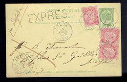 58 X 3 ( Sans Bandelette Dominicale ) / CP 23 Exprès De Theux 18 Octo 1901 Vers Liège ( 5c En Trop ) - 1893-1800 Fijne Baard