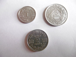 (A232)-MAROC-LOT De 3 PIECES 1F/2F ET 5F -1370/1951 - Marruecos