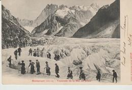 CPA - CHAMONIX - MONTANVERT - TRAVERSÉE DE LA MER DE GLACE - PHOTOGLOB - 2529 - GROUPE EXCURSIONNISTES - PRÉCURSEUR - Chamonix-Mont-Blanc