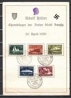 Danzig 1938,Mi 284-88 Auf Gedenkkarte Adolf Hitler,Ehrenbùrger Der Freien Stadt Danzig 20 April 1939,sehe Scans(D2673) - Danzig