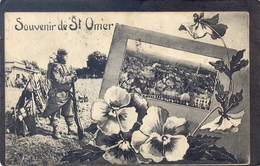 SAINT-OMER - Souvenir De St. Omer (Tres Belle Animée Avec Soldat ) - Saint Omer