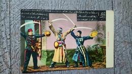 Joueurs D'épée  éd. Tarazis Beyrouth Damas  Jérusalem Rare - Cartes Postales