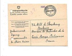 SUISSE CARTE POSTALE MILITAIRE DU CAMP MILITAIRE D'INTERNEMENT DE DÜRRENROTH POUR LA FRANCE 09/1940 - Svizzera
