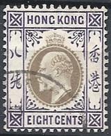 Hong Kong, 1904 King Edward VII, 8c Vio & Blk, Multy Crown CA # S.G. 80 - Michel 80 - Scott 93  USED - Hong Kong (...-1997)