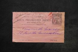 FRANCE - Carte Pneumatique Fermée , Type Chaplain Surchargé De Paris En 1903 - L 24481 - Neumáticos