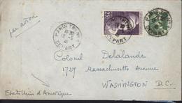 Marianne Gandon YT 719 + 731 25Fr Grand Format Violet CAD Paris Tri N°1 Départ 13 5 46 Destination Etats Unis USA - 1921-1960: Modern Period