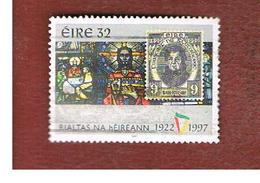 IRLANDA (IRELAND) - SG 1110  - 1997  75^ ANNIVERSARY OF IRIST FREE STATE: STAINED GLASS & STAMP  - USED - 1949-... Repubblica D'Irlanda