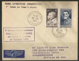 1ère Liaison Aérienne Paris-Livingstone-Johannesburg - 26-10-1953 - Correo Aéreo