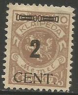Klaipeda (Memel) - 1923 Arms Overprint 2c/10m MH *    Mi 183 - Memel (1920-1924)