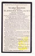 DP Blondina DeBlauwe ° Aartrijke Zedelgem 1839 † Brugge 1921 X Joannes Strobbe - Images Religieuses