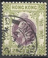 Hong Kong, 1912 King George V, 20c Ol Grn & Vio, Wmk. Multy Crown CA # S.G. 107 - Michel 105 - Scott 116  USED - Gebraucht