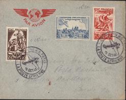 YT 577 578 TFP Vignette Exposition Philatélique Poste Aérienne Bleue CAD Illustré Avion 15 Oct 43 - Postmark Collection (Covers)