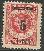 Klaipeda (Memel) - 1923 Arms Overprint 5c/100m MH *    Mi 188 - Memel (1920-1924)