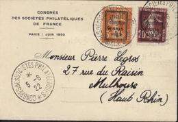 YT 158 139 Semeuse Camée Jaune Brun Surchargés Congrès Philatélique Paris 1922 Dans Rectangle Enveloppe + CAD 5 6 22 - Marcophilie (Lettres)