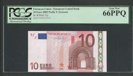 "Greece  ""Y"" 10  EURO UNC! Draghi Signature!!  ""Y""   Printer  N037J3! PCGS 66PPQ (Perfect Paper Quality!) GEM UNC! - EURO"