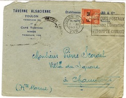 ENVELOPPE  A EN-TETE TAVERNE ALSACIENNE TOULON - Marcophilie (Lettres)