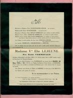 GENEALOGIE / BULLETIN / AVIS DE DECES : 1954 - ROSENDAËL Prés DUNKERQUE / WAHREM - FAMILLES LEJEUNE / VERMEULEN - Décès