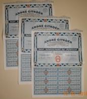 PART BENEFICIAIRE - LOT DE 3 PARTS De La S.A. ANDRE CITROEN - Automobile
