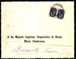 RUSSIE - N°  44 En Paire Sur Courrier Adressé à Sa Majesté Impériale, L'Impératrice De Russie Maria Féodorovna. - 1857-1916 Imperium